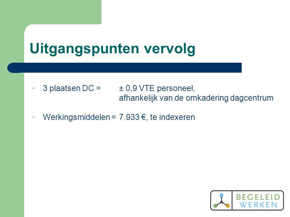 Uitgangspunten vervolg 3 plaatsen DC = ± 0,9 VTE personeel, afhankelijk van de omkadering dagcentrum Werkingsmiddelen = 7.933 €, te indexeren