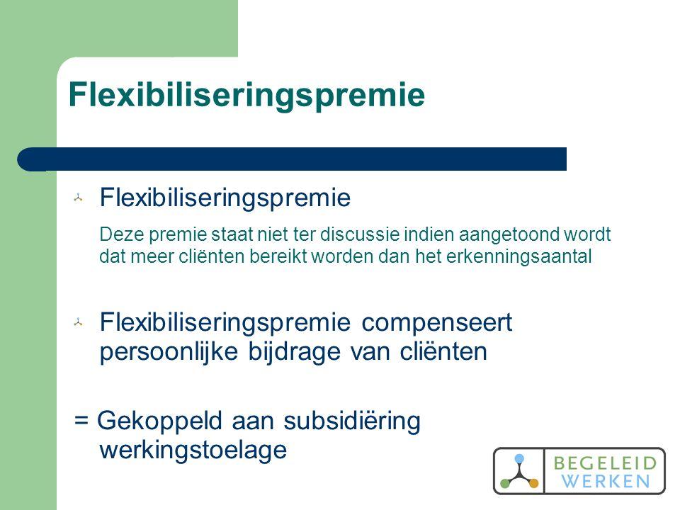 Flexibiliseringspremie Deze premie staat niet ter discussie indien aangetoond wordt dat meer cliënten bereikt worden dan het erkenningsaantal Flexibiliseringspremie compenseert persoonlijke bijdrage van cliënten = Gekoppeld aan subsidiëring werkingstoelage