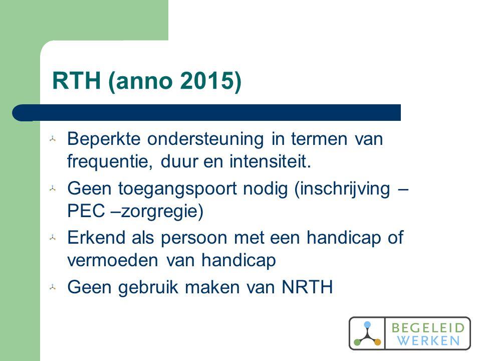 RTH (anno 2015) Beperkte ondersteuning in termen van frequentie, duur en intensiteit.