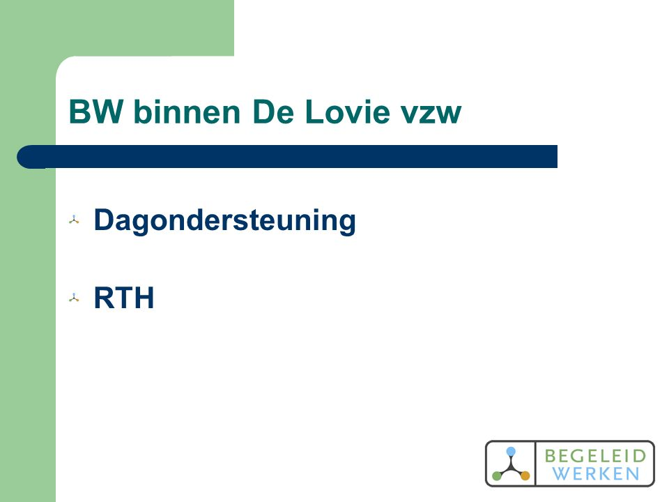 BW binnen De Lovie vzw Dagondersteuning RTH