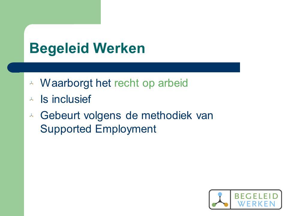 Begeleid Werken Waarborgt het recht op arbeid Is inclusief Gebeurt volgens de methodiek van Supported Employment
