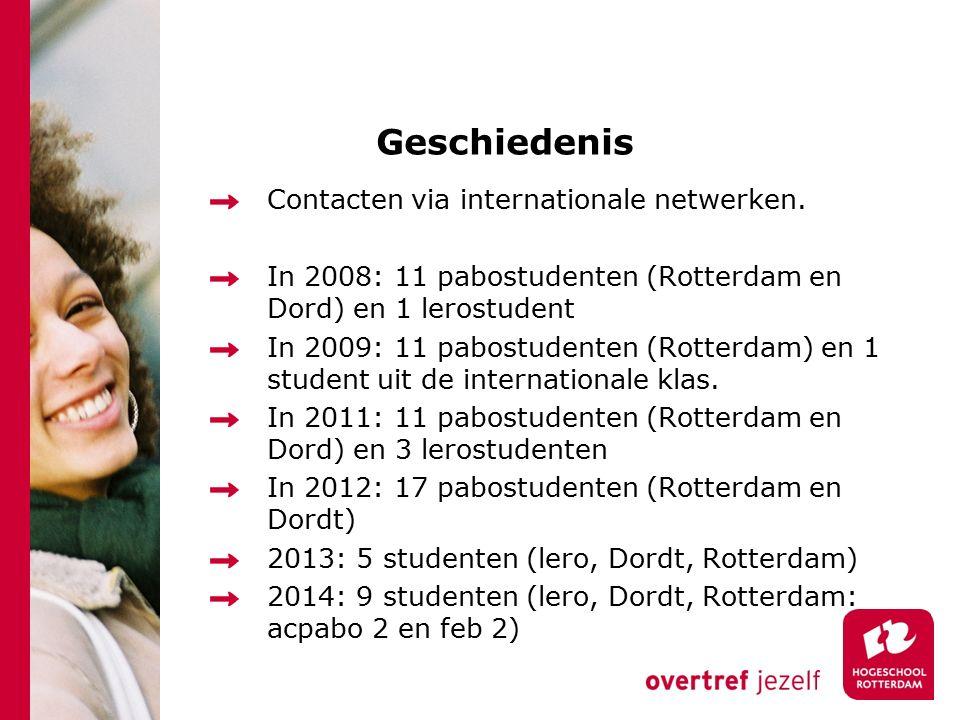 Geschiedenis Contacten via internationale netwerken.