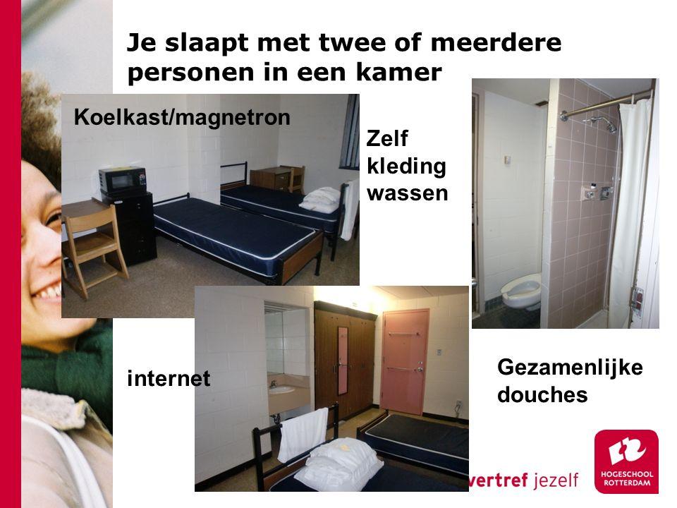 Je slaapt met twee of meerdere personen in een kamer Zelf kleding wassen Gezamenlijke douches internet Koelkast/magnetron
