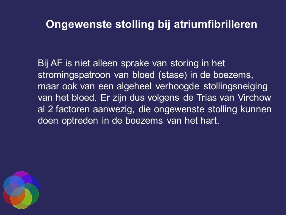 Ongewenste stolling bij atriumfibrilleren Bij AF is niet alleen sprake van storing in het stromingspatroon van bloed (stase) in de boezems, maar ook van een algeheel verhoogde stollingsneiging van het bloed.