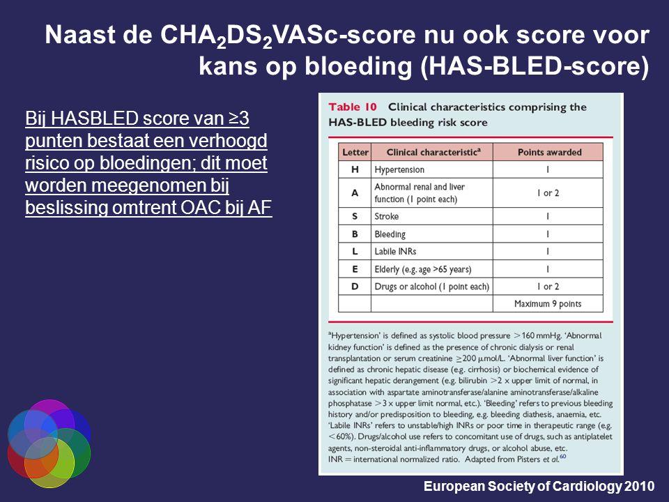 Naast de CHA 2 DS 2 VASc-score nu ook score voor kans op bloeding (HAS-BLED-score) European Society of Cardiology 2010 Bij HASBLED score van ≥3 punten bestaat een verhoogd risico op bloedingen; dit moet worden meegenomen bij beslissing omtrent OAC bij AF