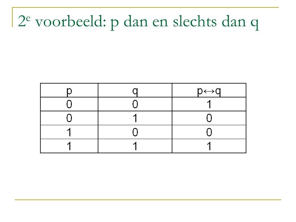 2 e voorbeeld: p dan en slechts dan q