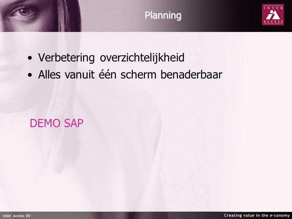 Inter Access BV Planning Verbetering overzichtelijkheid Alles vanuit één scherm benaderbaar DEMO SAP