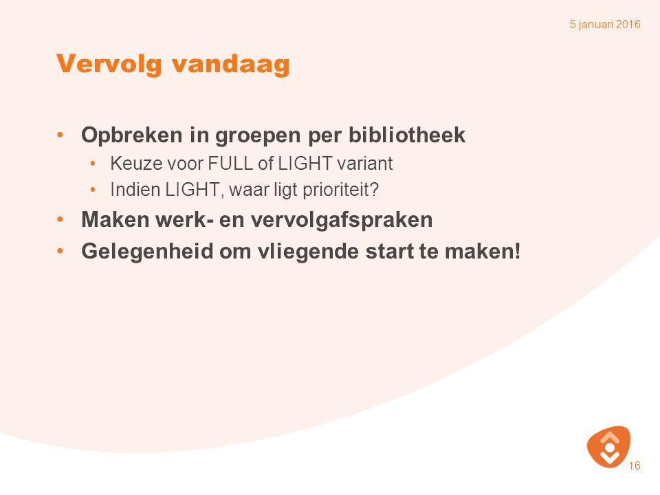 Vervolg vandaag Opbreken in groepen per bibliotheek Keuze voor FULL of LIGHT variant Indien LIGHT, waar ligt prioriteit.