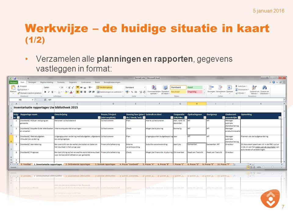Werkwijze – de huidige situatie in kaart (1/2) Verzamelen alle planningen en rapporten, gegevens vastleggen in format: 5 januari 2016 7