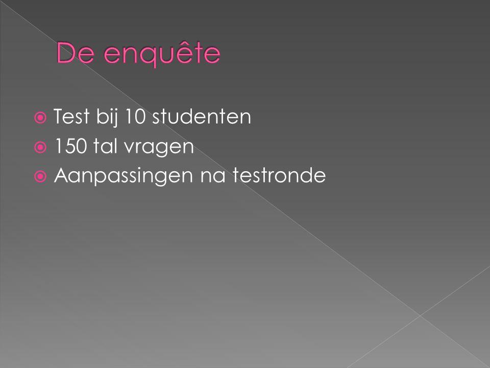  Test bij 10 studenten  150 tal vragen  Aanpassingen na testronde