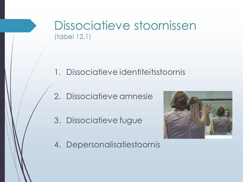 Dissociatieve stoornissen (tabel 12.1) 1.Dissociatieve identiteitsstoornis 2.Dissociatieve amnesie 3.Dissociatieve fugue 4.Depersonalisatiestoornis