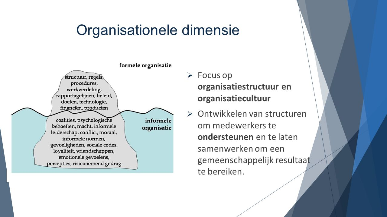 Organisationele dimensie  Focus op organisatiestructuur en organisatiecultuur  Ontwikkelen van structuren om medewerkers te ondersteunen en te laten
