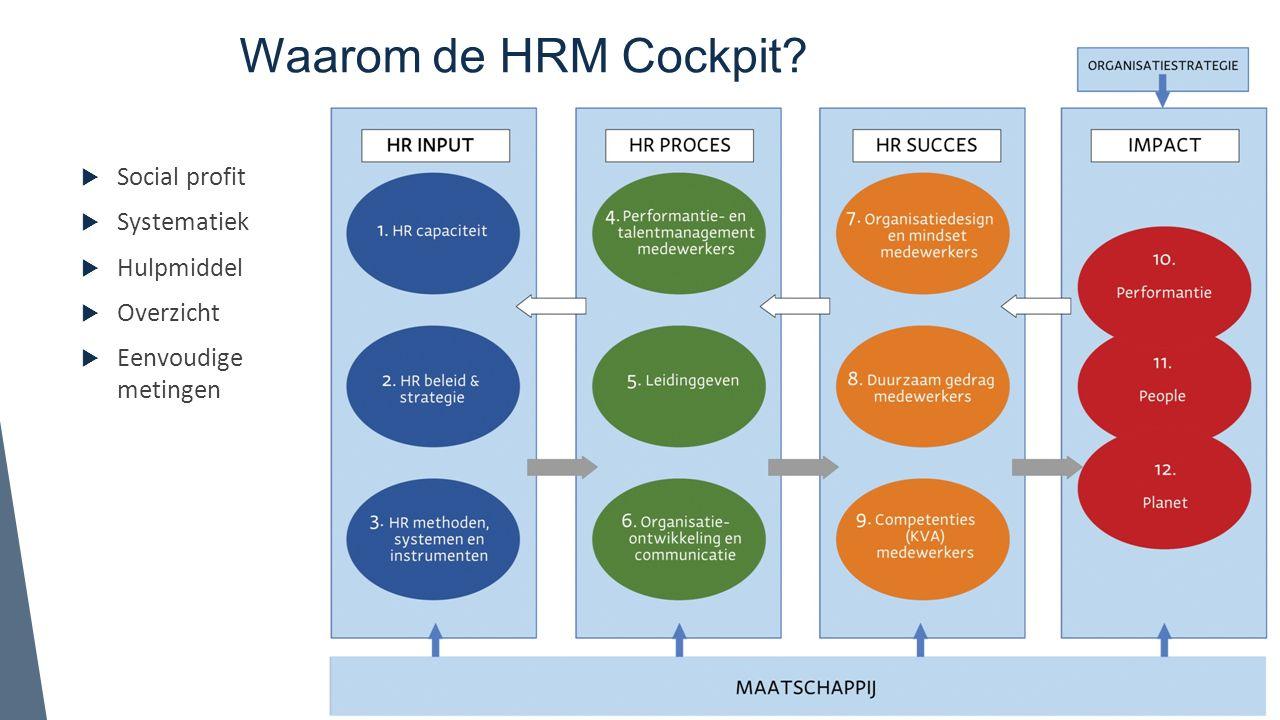 Waarom de HRM Cockpit?  Social profit  Systematiek  Hulpmiddel  Overzicht  Eenvoudige metingen