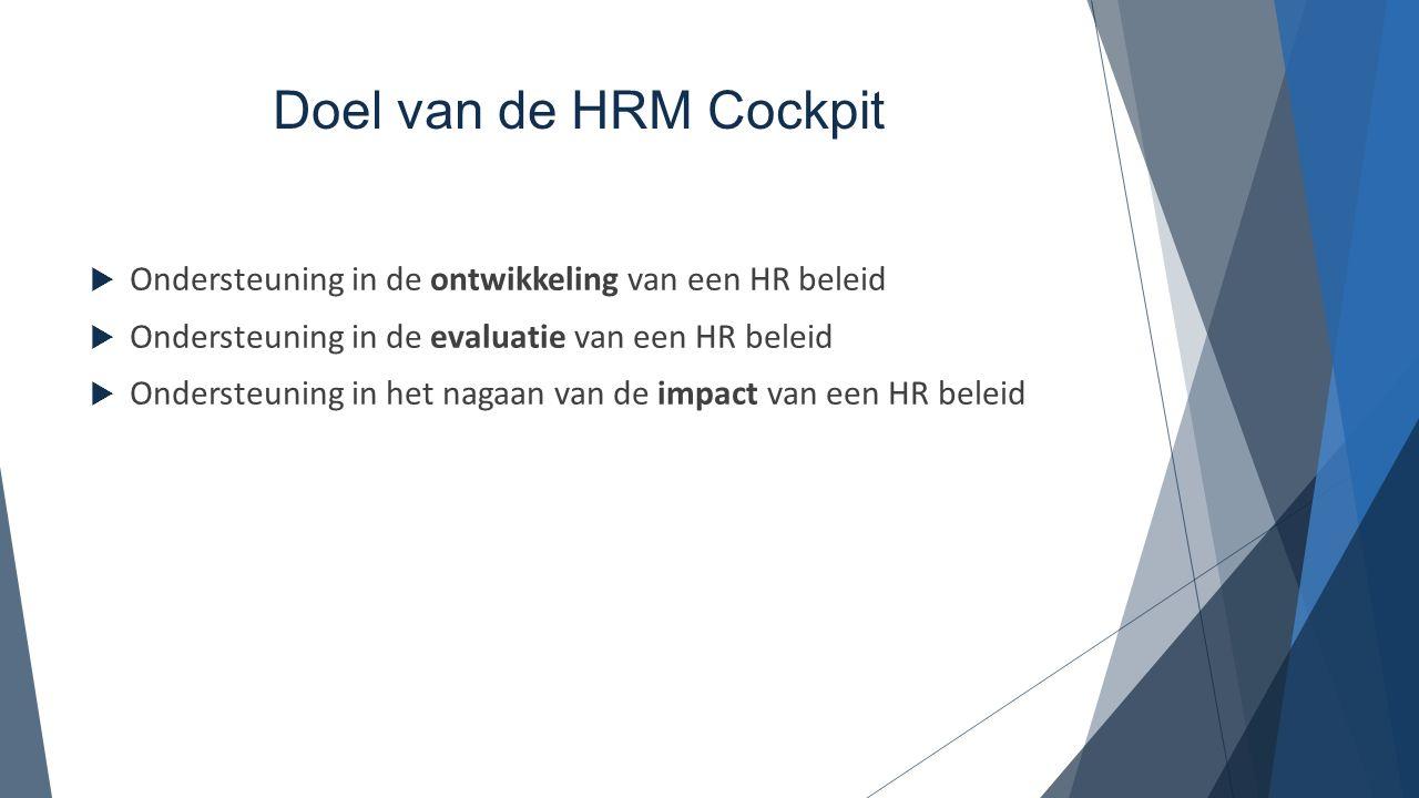 Doel van de HRM Cockpit  Ondersteuning in de ontwikkeling van een HR beleid  Ondersteuning in de evaluatie van een HR beleid  Ondersteuning in het
