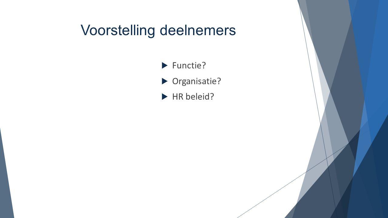 Voorstelling deelnemers  Functie?  Organisatie?  HR beleid?
