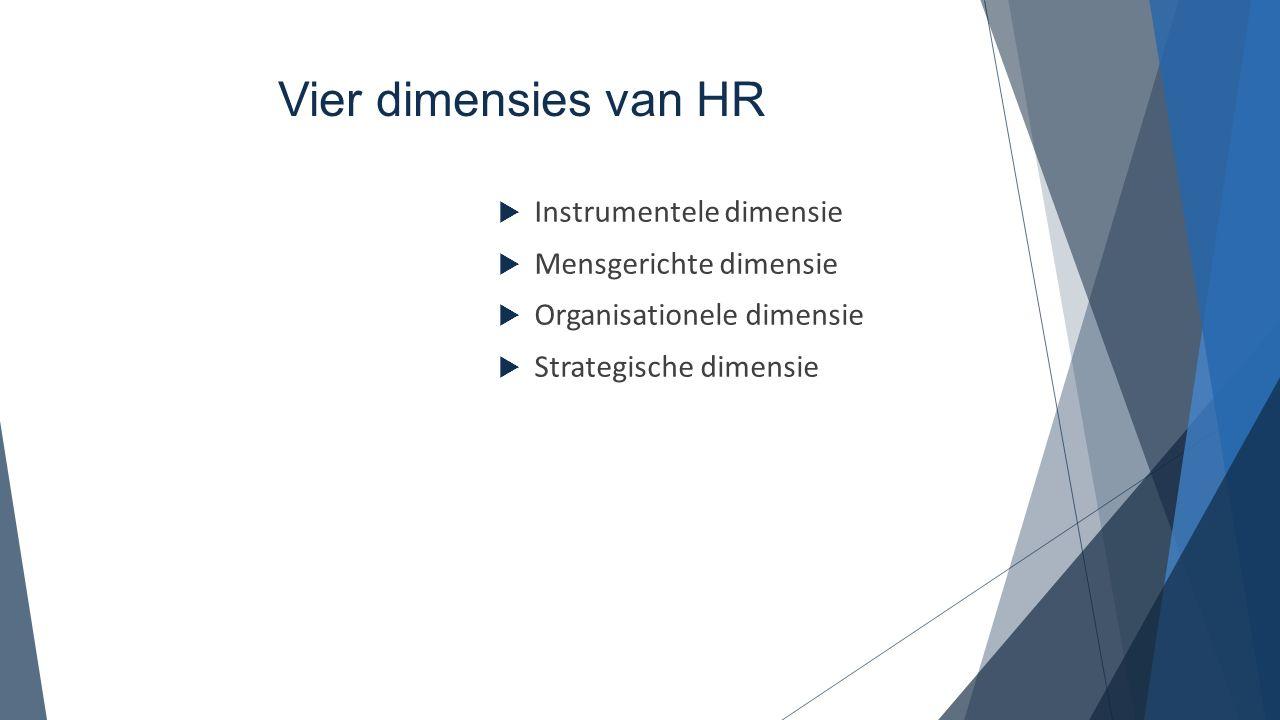 Instrumentele dimensie  Organisatie van arbeid en de daarbij horende administratieve, juridische en coördinerende opdrachten.