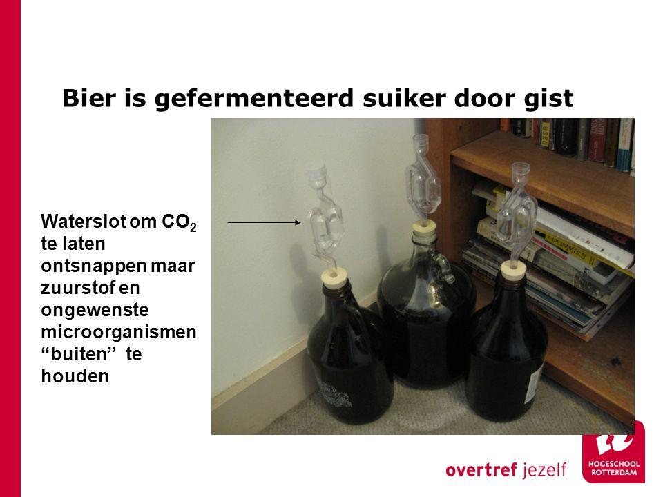 """Bier is gefermenteerd suiker door gist Waterslot om CO 2 te laten ontsnappen maar zuurstof en ongewenste microorganismen """"buiten"""" te houden"""