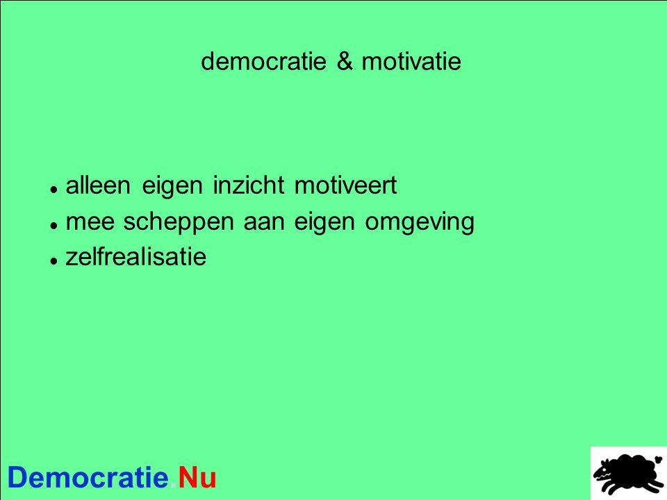 Democratie.Nu democratie & motivatie alleen eigen inzicht motiveert mee scheppen aan eigen omgeving zelfrealisatie