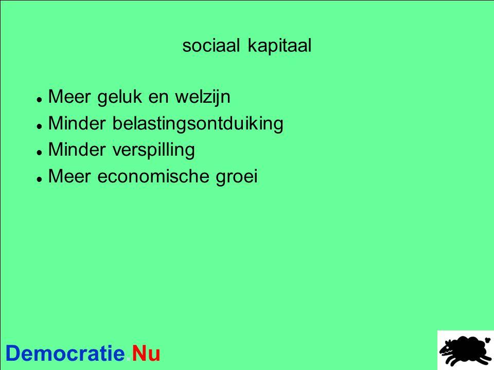 Democratie.Nu sociaal kapitaal Meer geluk en welzijn Minder belastingsontduiking Minder verspilling Meer economische groei
