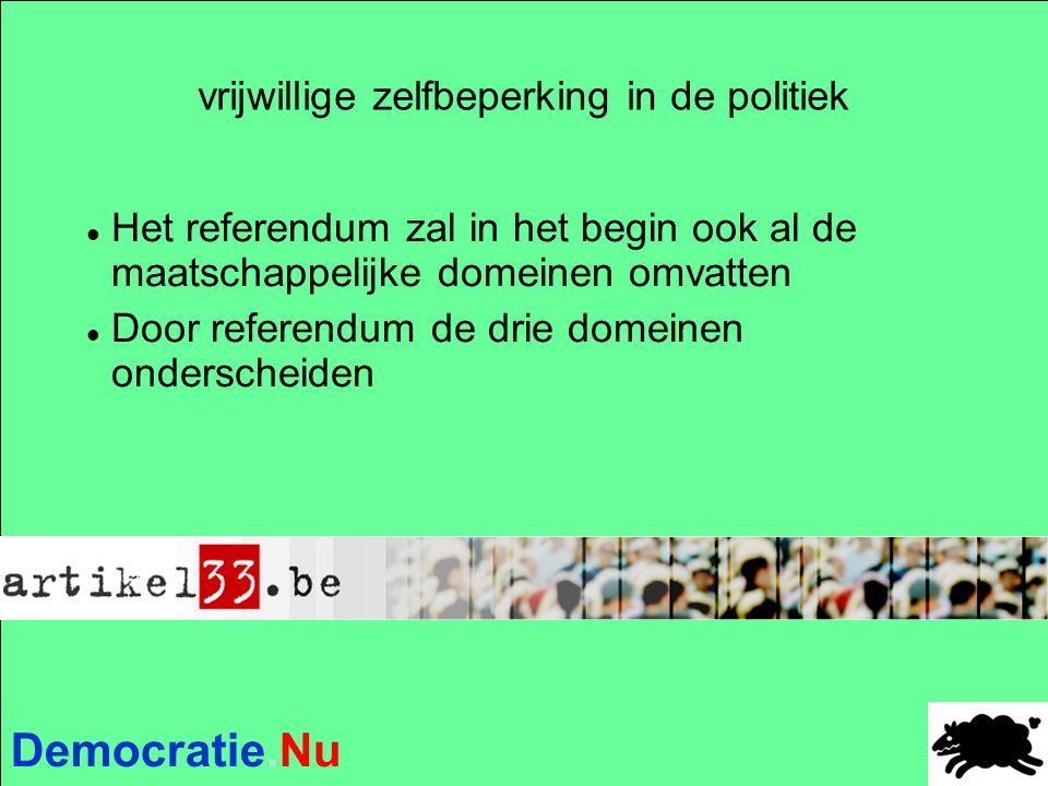 Democratie.Nu vrijwillige zelfbeperking in de politiek Het referendum zal in het begin ook al de maatschappelijke domeinen omvatten Door referendum de drie domeinen onderscheiden