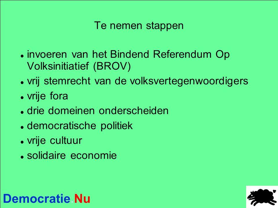Democratie.Nu Te nemen stappen invoeren van het Bindend Referendum Op Volksinitiatief (BROV) vrij stemrecht van de volksvertegenwoordigers vrije fora drie domeinen onderscheiden democratische politiek vrije cultuur solidaire economie