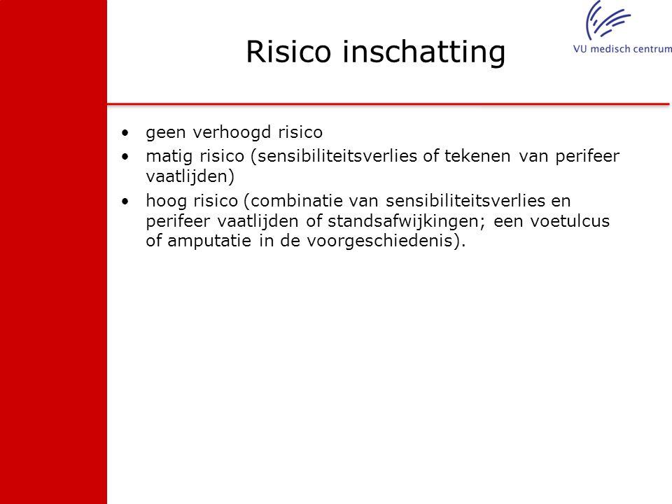 Risico inschatting geen verhoogd risico matig risico (sensibiliteitsverlies of tekenen van perifeer vaatlijden) hoog risico (combinatie van sensibilit