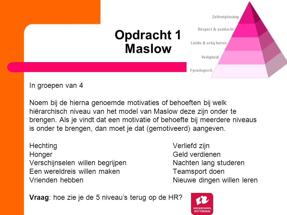 Opdracht 1 Maslow In groepen van 4 Noem bij de hierna genoemde motivaties of behoeften bij welk hiërarchisch niveau van het model van Maslow deze zijn onder te brengen.