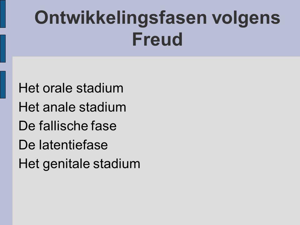 Ontwikkelingsfasen volgens Freud Het orale stadium Het anale stadium De fallische fase De latentiefase Het genitale stadium