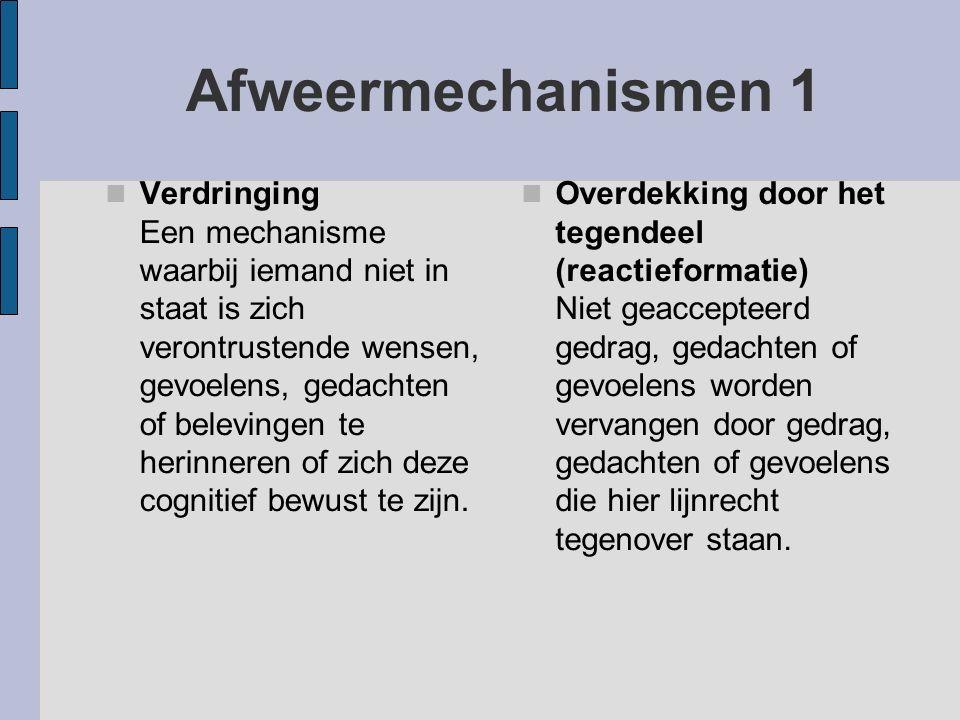 Afweermechanismen 1 Verdringing Een mechanisme waarbij iemand niet in staat is zich verontrustende wensen, gevoelens, gedachten of belevingen te herin