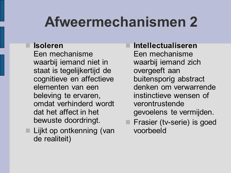 Afweermechanismen 2 Isoleren Een mechanisme waarbij iemand niet in staat is tegelijkertijd de cognitieve en affectieve elementen van een beleving te e