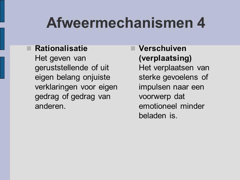 Afweermechanismen 4 Rationalisatie Het geven van geruststellende of uit eigen belang onjuiste verklaringen voor eigen gedrag of gedrag van anderen. Ve