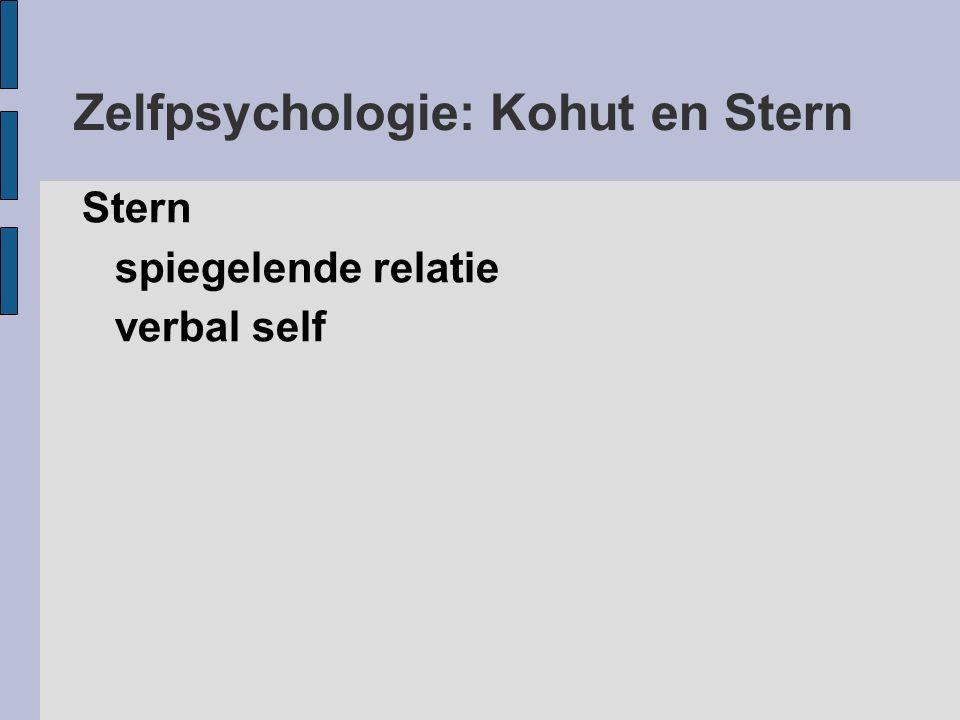 Zelfpsychologie: Kohut en Stern Stern spiegelende relatie verbal self
