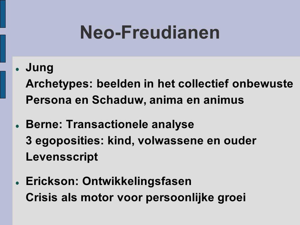 Neo-Freudianen Jung Archetypes: beelden in het collectief onbewuste Persona en Schaduw, anima en animus Berne: Transactionele analyse 3 egoposities: k