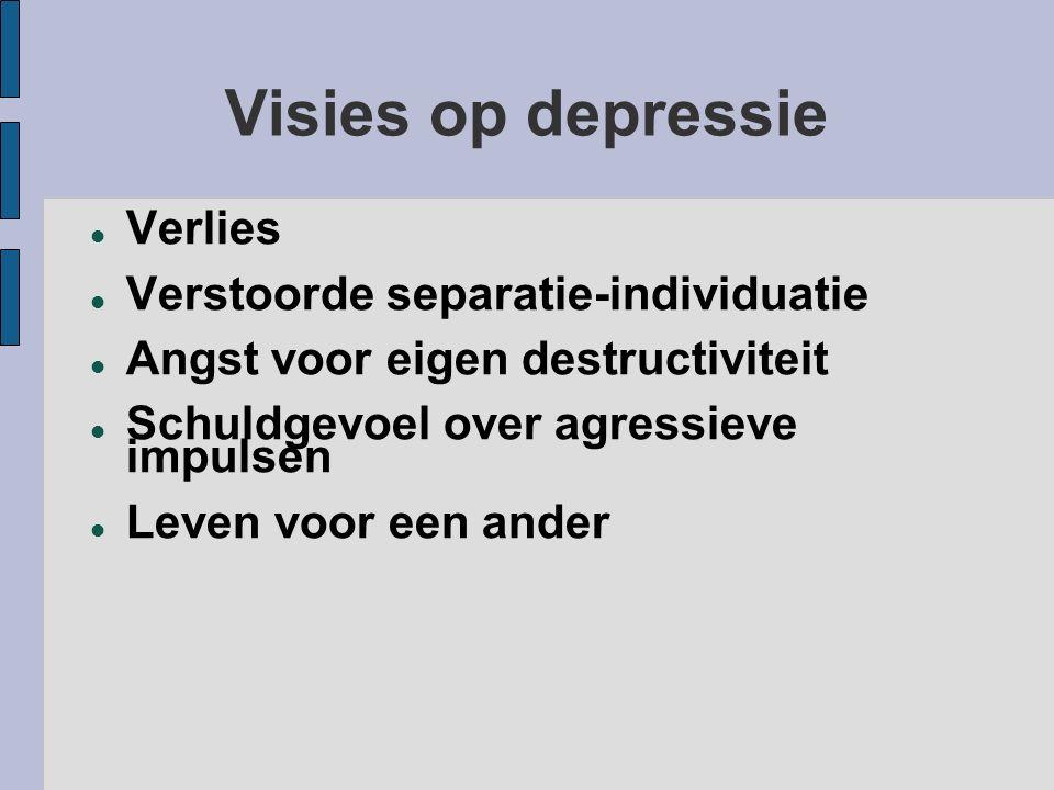 Visies op depressie Verlies Verstoorde separatie-individuatie Angst voor eigen destructiviteit Schuldgevoel over agressieve impulsen Leven voor een an