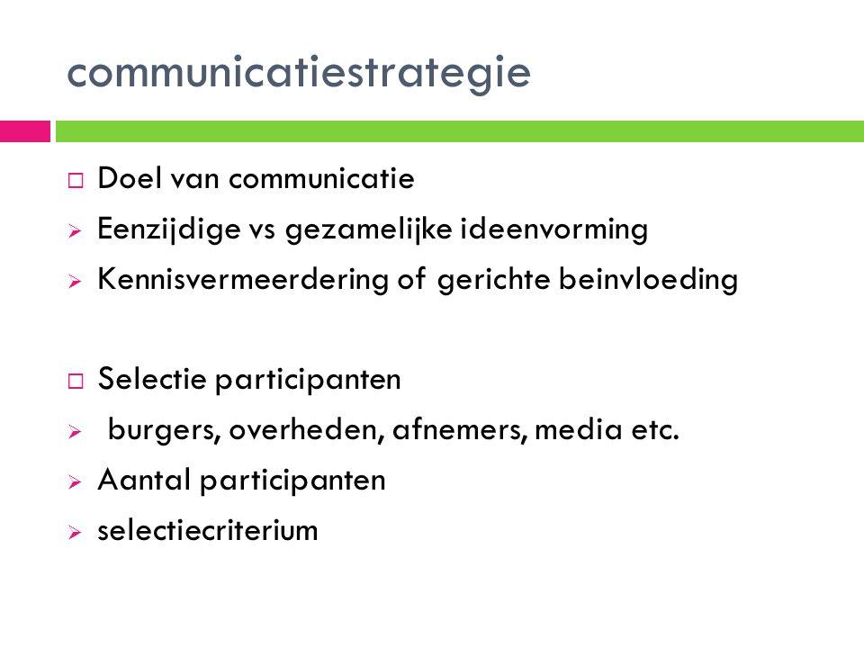 communicatiestrategie  Doel van communicatie  Eenzijdige vs gezamelijke ideenvorming  Kennisvermeerdering of gerichte beinvloeding  Selectie participanten  burgers, overheden, afnemers, media etc.