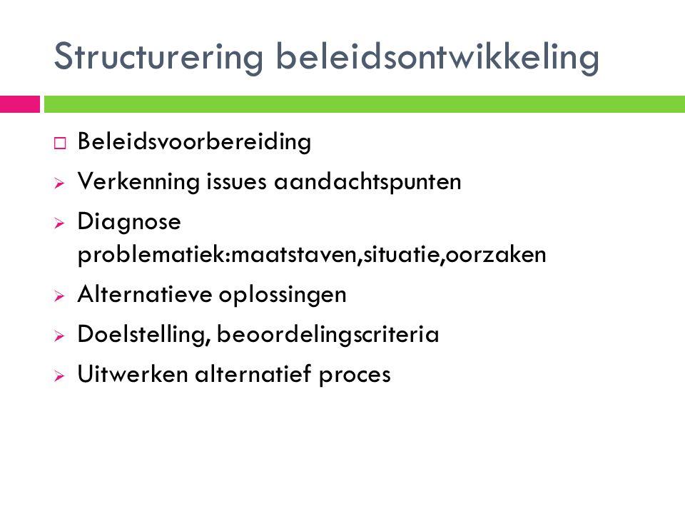 Structurering beleidsontwikkeling  Beleidsvoorbereiding  Verkenning issues aandachtspunten  Diagnose problematiek:maatstaven,situatie,oorzaken  Alternatieve oplossingen  Doelstelling, beoordelingscriteria  Uitwerken alternatief proces