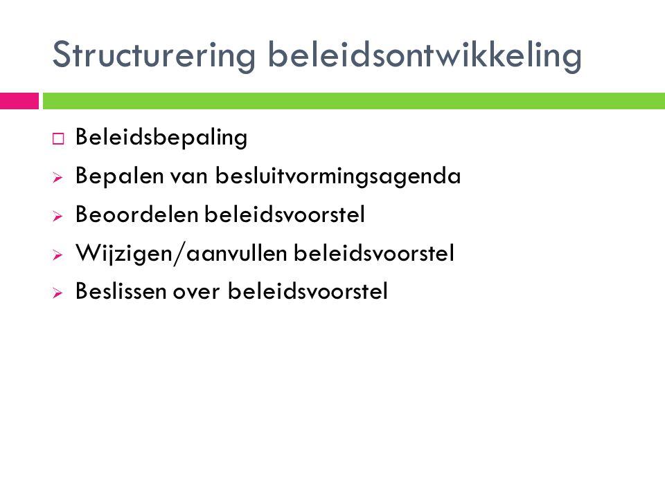 Structurering beleidsontwikkeling  Beleidsbepaling  Bepalen van besluitvormingsagenda  Beoordelen beleidsvoorstel  Wijzigen/aanvullen beleidsvoors