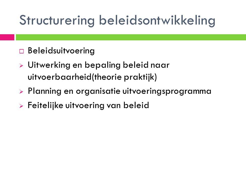 Structurering beleidsontwikkeling  Beleidsuitvoering  Uitwerking en bepaling beleid naar uitvoerbaarheid(theorie praktijk)  Planning en organisatie uitvoeringsprogramma  Feitelijke uitvoering van beleid