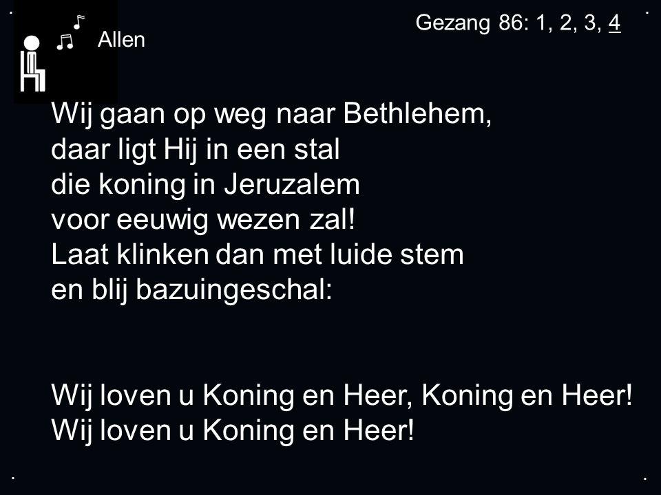 .... Wij gaan op weg naar Bethlehem, daar ligt Hij in een stal die koning in Jeruzalem voor eeuwig wezen zal! Laat klinken dan met luide stem en blij