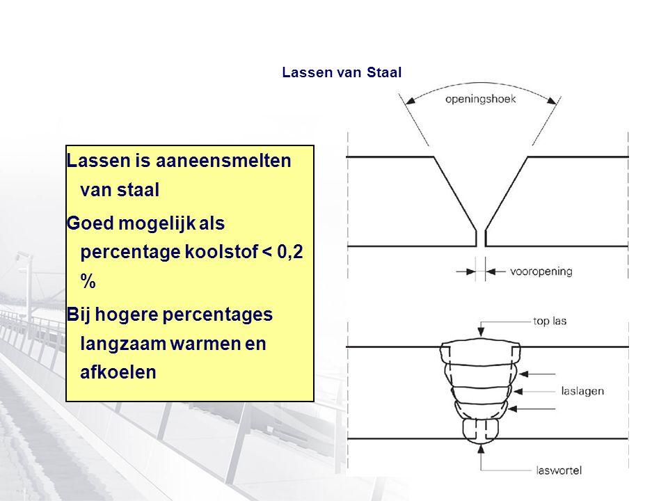 Lassen van Staal Lassen is aaneensmelten van staal Goed mogelijk als percentage koolstof < 0,2 % Bij hogere percentages langzaam warmen en afkoelen