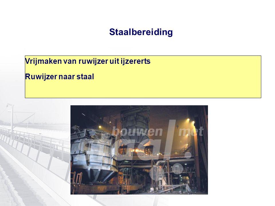 Staalbereiding Vrijmaken van ruwijzer uit ijzererts Ruwijzer naar staal
