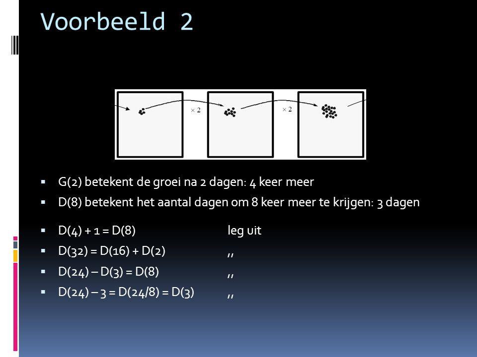  D(4) + 1 = D(8) leg uit  D(32) = D(16) + D(2),,  D(24) – D(3) = D(8),,  D(24) – 3 = D(24/8) = D(3),,  G(2) betekent de groei na 2 dagen: 4 keer meer  D(8) betekent het aantal dagen om 8 keer meer te krijgen: 3 dagen Voorbeeld 2