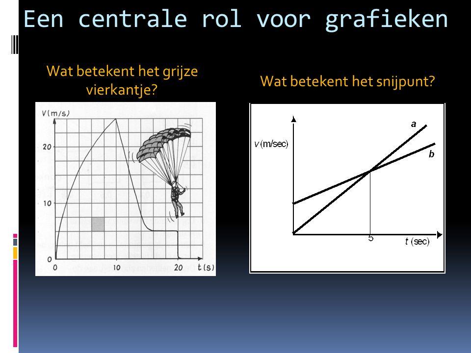 Een centrale rol voor grafieken Wat betekent het grijze vierkantje? Wat betekent het snijpunt?