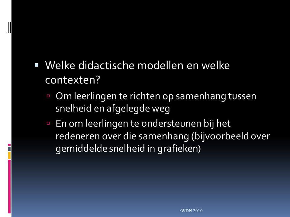  Welke didactische modellen en welke contexten.