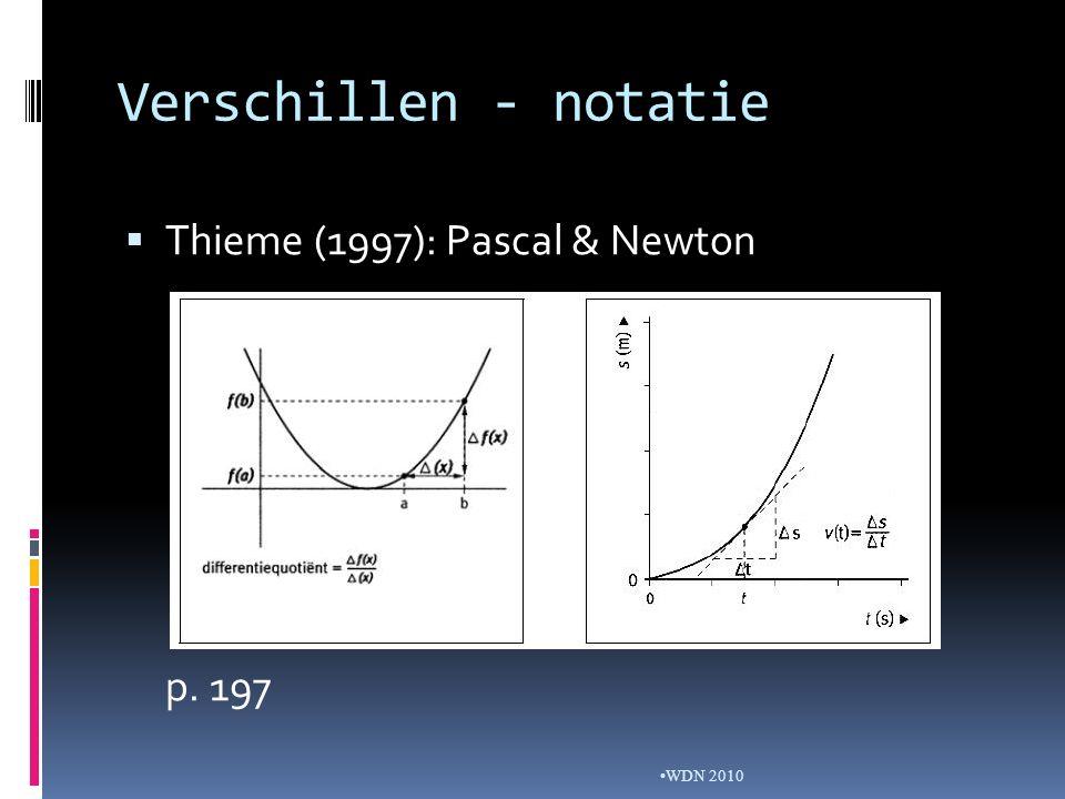 Verschillen - notatie WDN 2010  Thieme (1997): Pascal & Newton p. 197