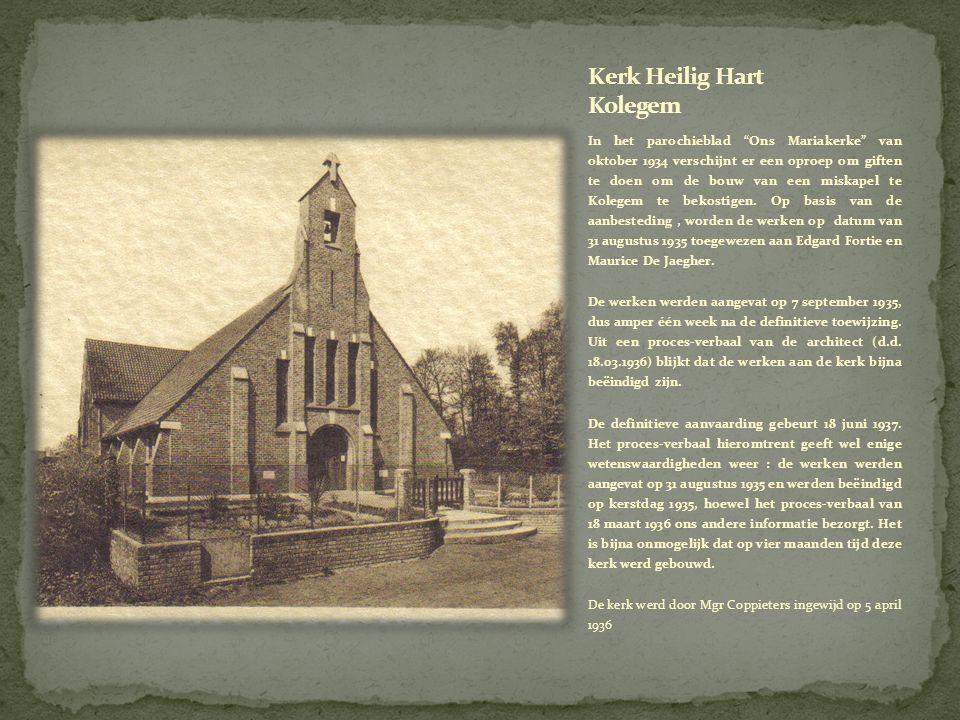 In het parochieblad Ons Mariakerke van oktober 1934 verschijnt er een oproep om giften te doen om de bouw van een miskapel te Kolegem te bekostigen.