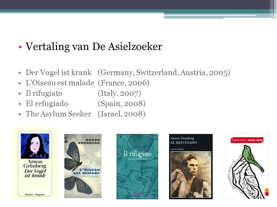 Vertaling van De Asielzoeker Der Vogel ist krank (Germany, Switzerland, Austria, 2005) L Oiseau est malade(France, 2006) Il rifugiato (Italy, 2007) El refugiado (Spain, 2008) The Asylum Seeker(Israel, 2008)