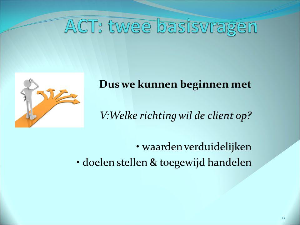 Dus we kunnen beginnen met V:Welke richting wil de client op.