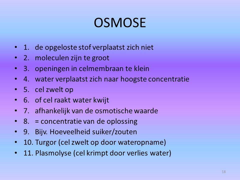 OSMOSE 1. de opgeloste stof verplaatst zich niet 2. moleculen zijn te groot 3. openingen in celmembraan te klein 4. water verplaatst zich naar hoogste