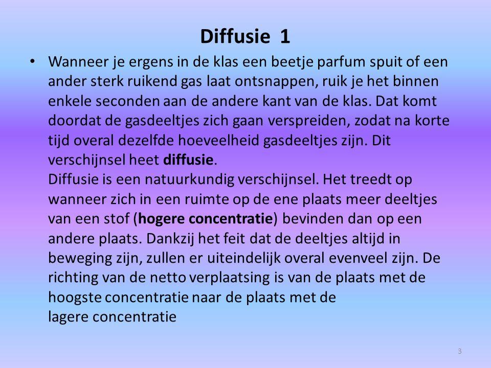 Diffusie 1 Wanneer je ergens in de klas een beetje parfum spuit of een ander sterk ruikend gas laat ontsnappen, ruik je het binnen enkele seconden aan